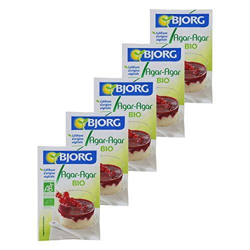 Bjorg Agar Agar Bio en poudre - Sachet de 4 g - Lot de 5