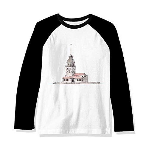 Maiden's Tower in Istanbul Turkey Camiseta de manga comprida Raglan, Multicor, P