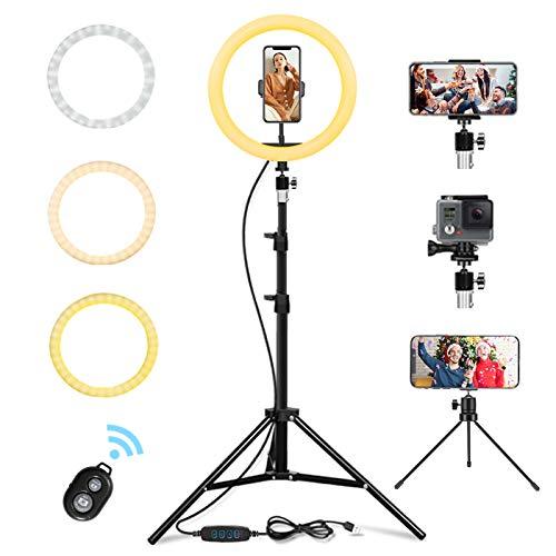 LED Ring Light 10 avec Trépied et Télécommande Bluetooth, Anneau de Lumière Selfie de Bureau avec Gradation 3 Modes Déclairage et 10 Niveaux de Luminosité pour Vidéo Youtube (65in)
