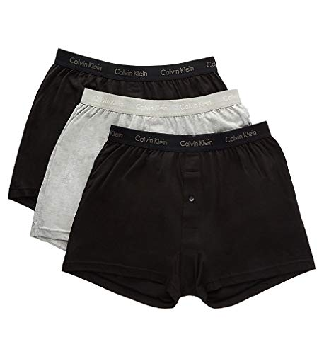 Calvin Klein Men's Cotton Classics 3 Pack Knit Boxers, Black/Black/Grey Heather, Medium