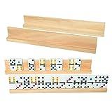 Vumdua 4 Pack Wood Domino Racks   Domino Trays Holders for Mexican Train/Domino Tiles/Mahjong/Chicken Foot - 13.4 x 2 x 1.2 Inches