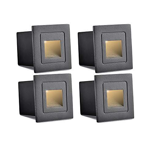 INHDBOX Waterproof Corner/Deck/Recessed Step Lights,3W 85-220V 3200K LED Stairs Step Night Light Indoor/Outdoor Wall Lighting-Warm White Light