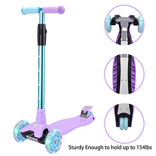 WV WONDER VIEW Kick Scooter Kids Scooter 3 Wheel Scooter, 4 Height Adjustable Pu Wheels Extra Wide Deck Best Gifts for Kids, Boys Girls