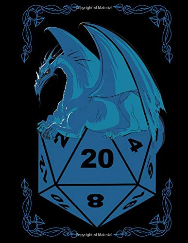 RPG D20 Dice Bordgame blue Dragon A4 Ruled Line Paper: Notebook with 120 Pages ca. A4 (8,5x11 in) RPG Dice Roleplaying game Dragon Pen and Paper Accessories Role Playing Games Tabletop play gifts