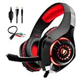 QAZWSX Auriculares para Juegos para PS4 LED Auriculares Profesionales con micrófono, Reducción de Ruido de Confort Crystal Clarity, para Xbox One PC Laptop Tablet Mac Smart Phone-Red