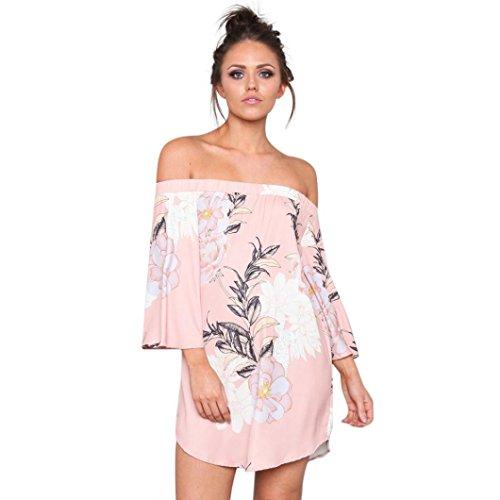 WYTong Womens Floral Printed Half Sleeve Mini Dress Summer Slash Neck Loose Sundress (M, Pink)