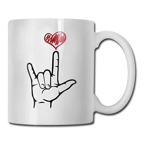 Taza de café de cerámica con lenguaje de señas de ASL I Love You, oficina, hogar, regalo, diversión, taza de amantes