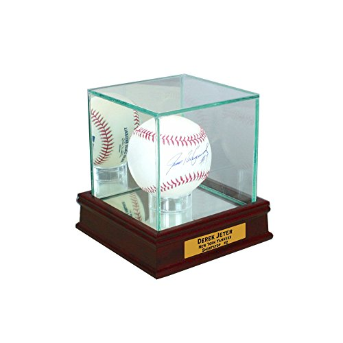 Perfect Cases Single Baseball Display Case with Sport Moulding (Cherry UV w Engraving)