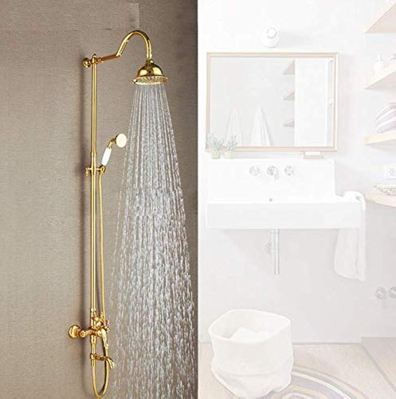 Dwthh Duscharmaturen Regendusche Set Dural Griff Wandhalterung Luxus Messing Gold Bad Wasserhahn Mit Dia Duschkopf