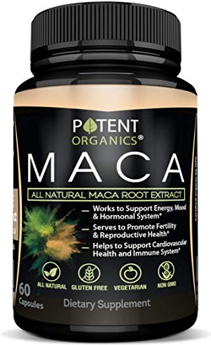 100% Natural Maca Extract 750mg – 60 Capsules – Natural Peruvian Maca Root Powder Supplement – Promotes Energy & Immune Health – Balances Hormones – Pure Extract for Men & Women