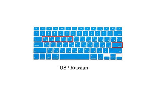 EU US Soft Silikon kompatibel für MacBook Pro 13 15 CD ROM Keyboard Cover Russian Cover Compatible for MacBook Pro 13 15 A1278 A1286 Russia Keyboard US Russland Blau