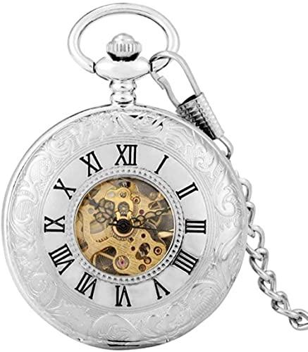 JZDH Reloj de Bolsillo Plata Doble Doble Apertura Mecánica Reloj de Bolsillo Mano Viento Romano Dial Flip Shield Diseño Volver Cubierta Arte Coleccionables para Hombres Mujeres (Color : Silver)