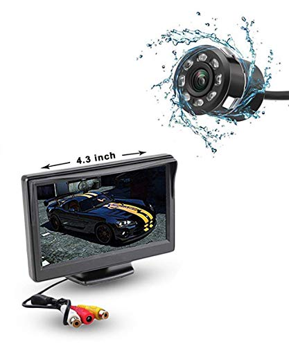 Auto Snap Reverse Parking Assistance 4.3 Inch Tft LCD Monitor with 8 LED Night Vision Car Reverse Camera Combo