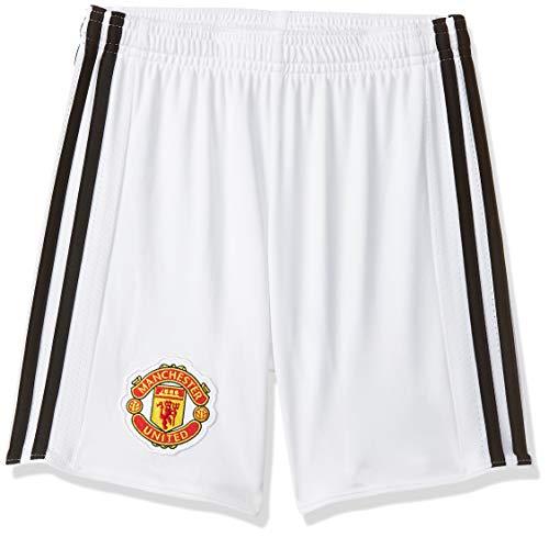 adidas MUFC H SHO Y Pantalón Corto - Línea Manchester United FC, Niños, Blanco/Negro, 164
