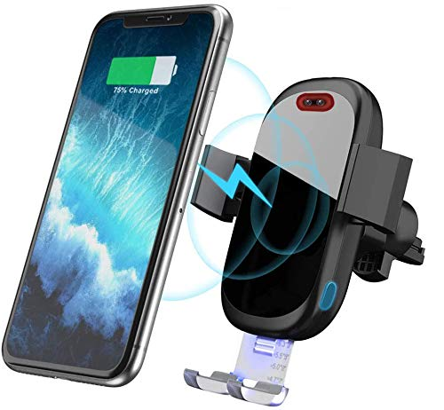 SONRU Wireless Car Charger Mount, Infrared Sensor Car Charger Mount Auto Clamp Phone Holder Fast Wireless Charger, Compatible with iPhone XS/XS Max/XR/X/8/8+,Galaxy S10/ Note 9/S9/S9+/ S8/ Note 8