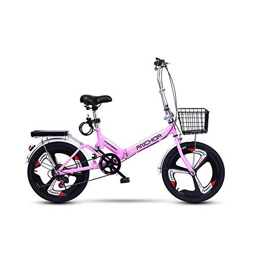 TopBlïng Adulto Bicicleta Plegable 20 Pulgadas Neumáticos Todo En Uno,Velocidad Variable,Absorción De Impactos,Adolescentes Bicicleta De Ciudad Conmutar,Guardabarros Delantero Y Trasero-Rosa