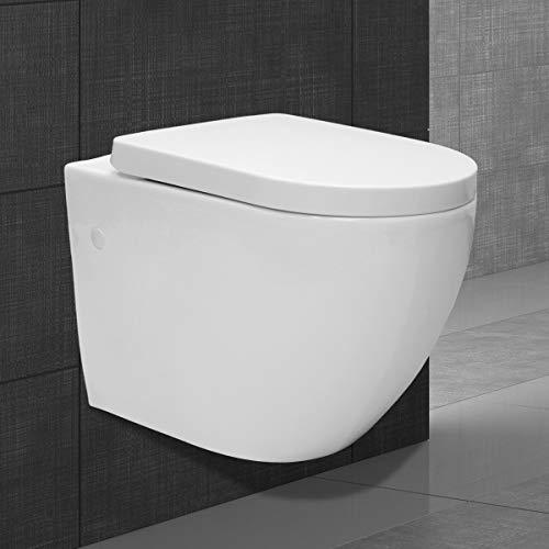 ECD Germany Inodoro de Pared sin Borde - Cerámica - WC Sin Montura de Largo - Asiento Automático SoftClose - Tapa Duroplast - Extraíble - Tapete Insonorizado - Diseño Suspendido - Retrete Colgante