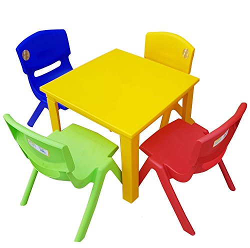 Strong Kids Children Table and Chairs Set for Study, Activity Garden Indoor (Yellow Table + 4 Chairs Mix)