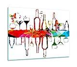 TMK | Tabla de cortar de cristal 60 x 52 una sola pieza de vidrio para cocina eléctrica, inducción, protección contra salpicaduras, decoración de color blanco vino
