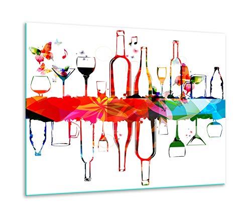 TMK   Tabla de cortar de cristal 60 x 52 una sola pieza de vidrio para cocina eléctrica, inducción, protección contra salpicaduras, decoración de color blanco vino