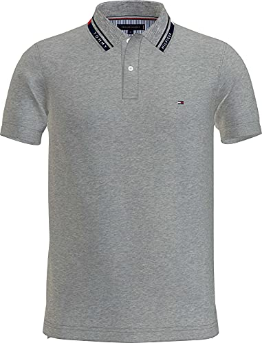 Tommy Hilfiger 1985 Hilfiger Collar Slim Polo Camisa, Gris Medio, L para Hombre