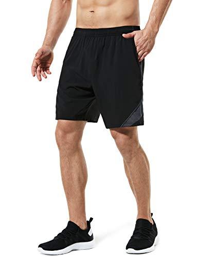 TSLA Men's Active Running Shorts, 7 Inch Basketball Gym Training Workout Shorts, Quick Dry Athletic Shorts with Pockets, Rear Zip Pocket Shorts Black, Medium