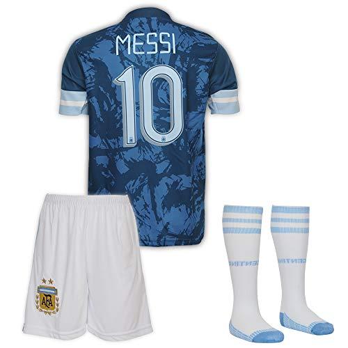 Argentinien Messi Trikot Set #10 Auswärts 2018/19 Kinder Fussball Trikot Mit Shorts und Socken Kinder (7-8 Jahre)