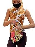 Camiseta sin mangas para mujer con estampado de retrato y corte entallado, sin mangas, camiseta de verano
