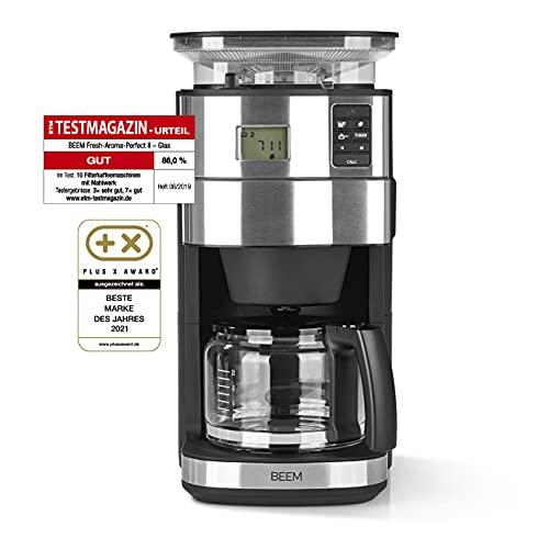 BEEM FRESH-AROMA-PERFECT II ekspres do kawy z mechanizmem mielącym, szkło, stal nierdzewna, dzbanek szklany 1,25 l, 24-godzinny timer | precyzyjny mechanizm mielący 1000 W