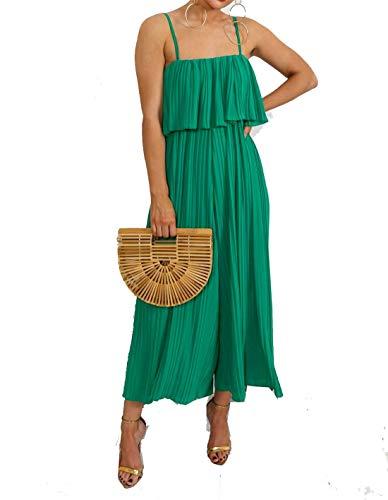 Hi Fashionz Damen Chiffon Plissee Crinkle Jumpsuit Culotte Kleid Damen Riemchen Partykleid Gr�n Mittel/Gro�