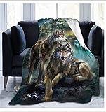 Fansu Kuscheldecke Flanell Decke, 3D Drucken Microfaser Flauschig Weich Warm Plüsch Wohndecke Fleece Tagesdecke Decke für Sofa & Bett (Wolf,150x200cm)