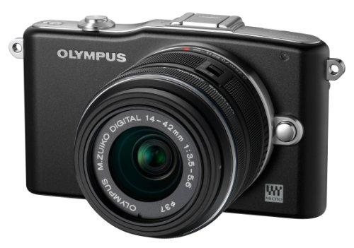 Olympus Pen E-PM1 Systemkamera (12 Megapixel, 7,6 cm (3 Zoll) Display, bildstabilisiert) schwarz mit 14-42mm Objektiv schwarz