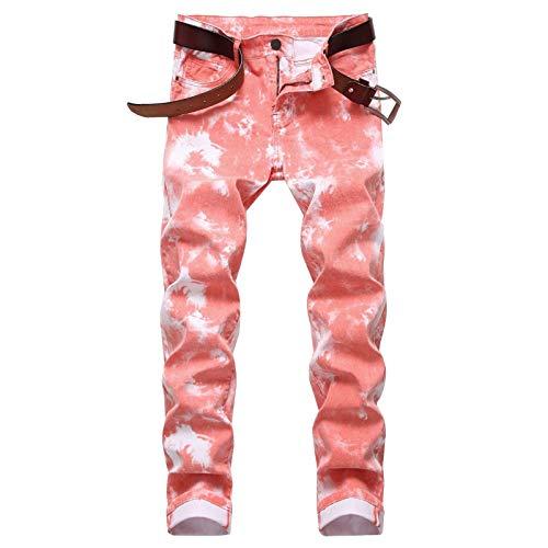 Jubaton Pantalones Vaqueros de Mezclilla cómodos de diseño Regular para Hombre Americana Pantalones Rectos Delgados de Talla Grande con Estampado Pintado 30