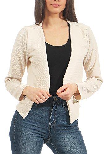 Malito Damen Blazer ohne Kragen   Sakko im Basic Look   Kurzjacke mit Zipper   Jacke - Jackett - Blouson 6040 (Creme, M)