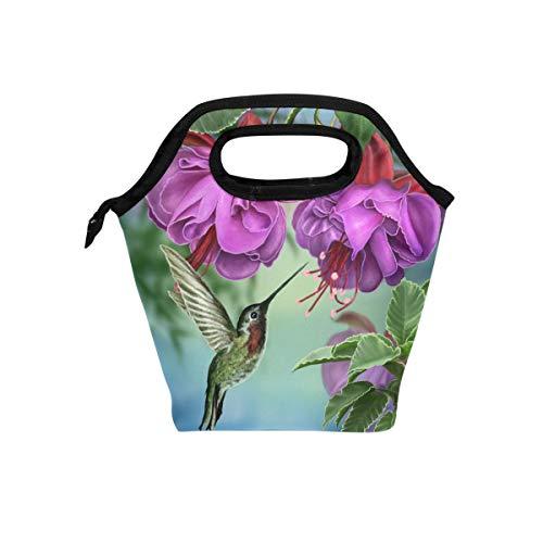 Naanle Bird Colibrí aislado cierre bolsa de almuerzo nevera bolsa para adultos adolescentes hombres mujeres cajas de almuerzo comida...