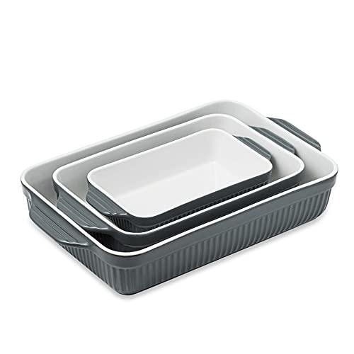 Kanwone Ceramic Bakeware Set, Baking Dishes, Rectangular Lasagna Pans, Casserole Dish Set of 3 for Cooking, Kitchen, Cake Dinner, 9 x 13 Inches, Stripe Series - Grey
