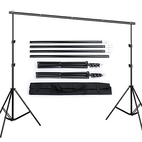 Queta 2,6 x 3 M Hintergrund Ständer Aluminiumlegierung Hintergrundgestell Verstellbarer Stativ-Hintergrund Stützsystem Foto Hintergrund Ständer mit Tragetasche für Porträt Produkt Videoaufnahmen
