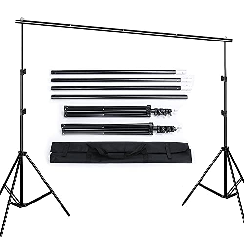 Queta 2,6 x 3 M Hintergrund Ständer Aluminiumlegierung Hintergrundgestell Verstellbarer Stativ-Hintergrund Stützsystem Foto Hintergrund Ständer mit Tragetasche für...