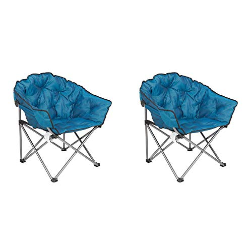 Mac Sports Folding Padded Outdoor Club Chair with Carry Bag, Blue/Black (2 Pack)