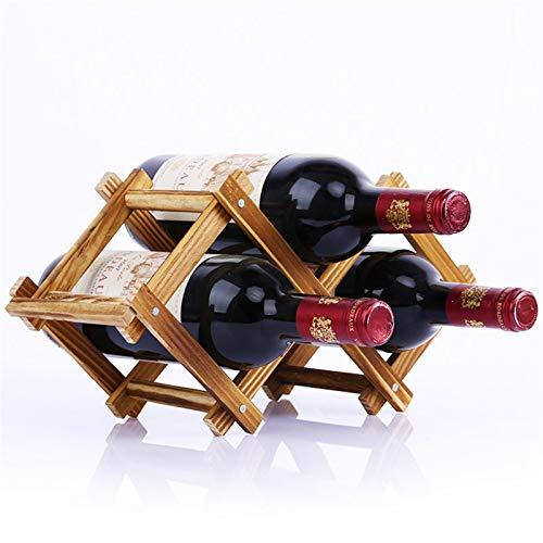 Botellero de Vino, 3/5/6/10 Botella Botella de madera Tinto Rack Holder Mount Bar Pantalla Estante Plegable Madera Casa Decoración de almacenamiento (Color : 1)