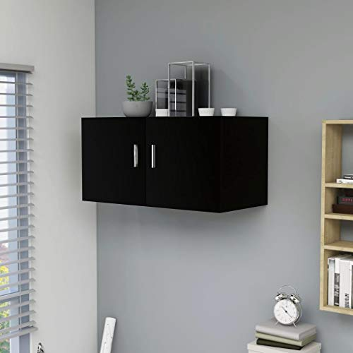 UnfadeMemory Wandschrank Hängeschrank Spanplatte Wandhängeschrank Wandmontage Schrank Wohnzimmer Badezimmer Aufbewahrungsschrank 80x39x40cm (Schwarz)