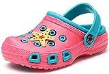 Kinder Clogs Pantoletten Mädchen Jungen Sandalen Slip On Outdoor Flach Hausschuhe Geschlossene Strand Sandale Schuhe Sommer Pink (Paradise) 26 EU/27CN