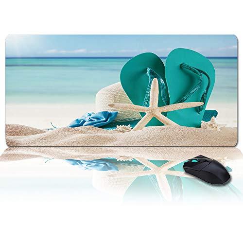 Large Size Gaming Mouse Pad Beach Starfish Slippers Tropical Summer Computer Game Mouse Mat Optimized for Gaming Sensors