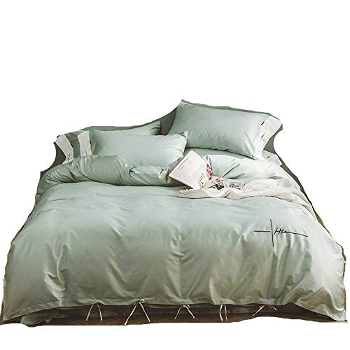 YANGPANGZI 60 algodón de Fibra Larga Satinado algodón Moda Simple Arco de Color sólido nórdico Ocio Adulto Cama de Cuatro Piezas