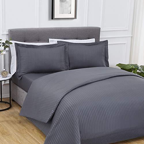 Sleepdown - Set completo di biancheria da letto, in rasatello a righe, super morbido, facile da pulire, con lenzuolo con angoli, matrimoniale, in poliestere