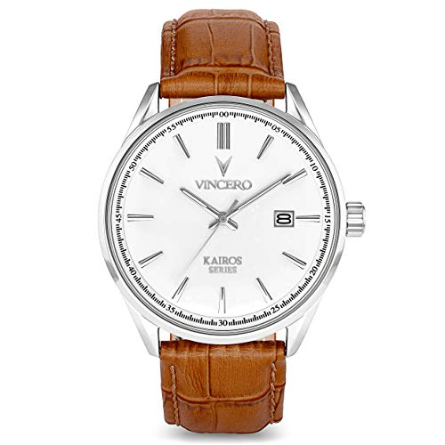Vincero The Kairos Dial Leather Strap Men's Watch WHI-TAN-K09