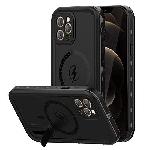 WIFORT Funda para iPhone 12 Pro MAX,IP68 Impermeable y Antigolpes, Carcasa Magnética Compatilble con mag-Safe Carga, Soporte y Protector de Pantalla Incorporado, Protección Grado Militar 360°, Negro