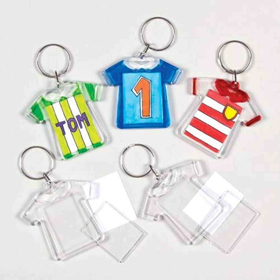 Baker Ross Design a T-Shirt Keyring for Children to Personalize - Creative Crafts for Kids (Pack of 6)