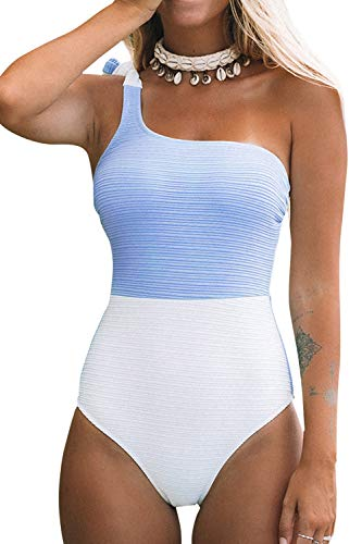 CUPSHE Women's Blue and White One Shoulder One Piece Swimsuit Small