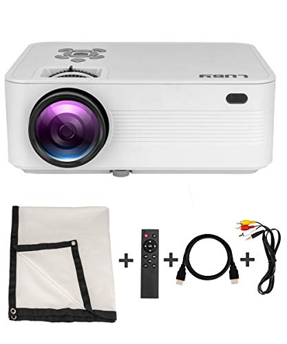 Luby Portable Mini Movie Projector +10% Brighter Supports 1080P Perfect for Fun Camping Neighborhood Gathering Backyard Movie Comes with Free Projector Screen